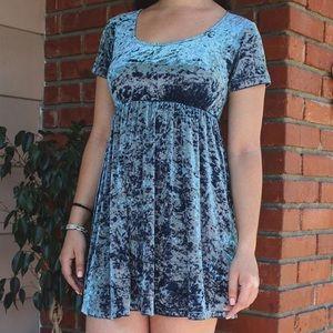 Blue velvet babydoll dress